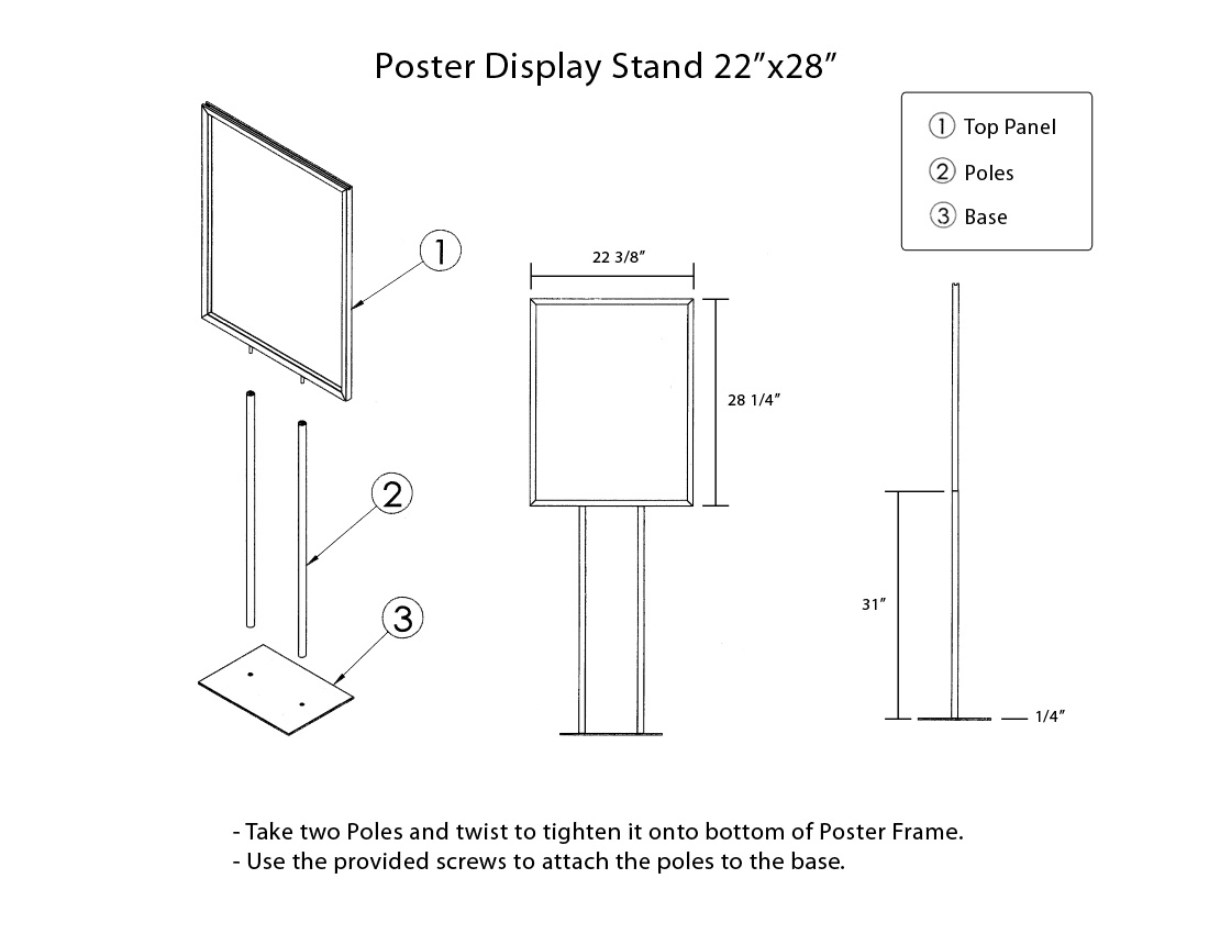 poster frame floor stand instructions assemble